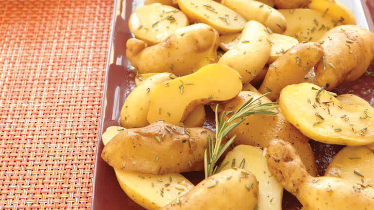 Braised fingerling potatoes with rosemary