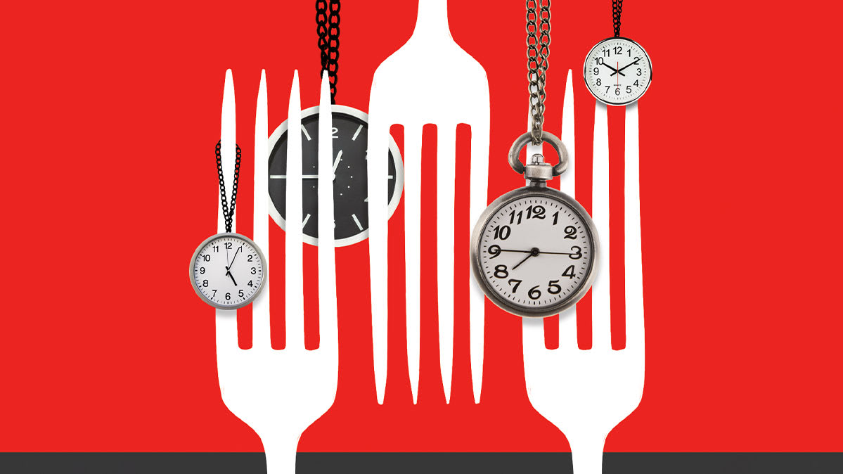 Forks and clocks to represent meal timing