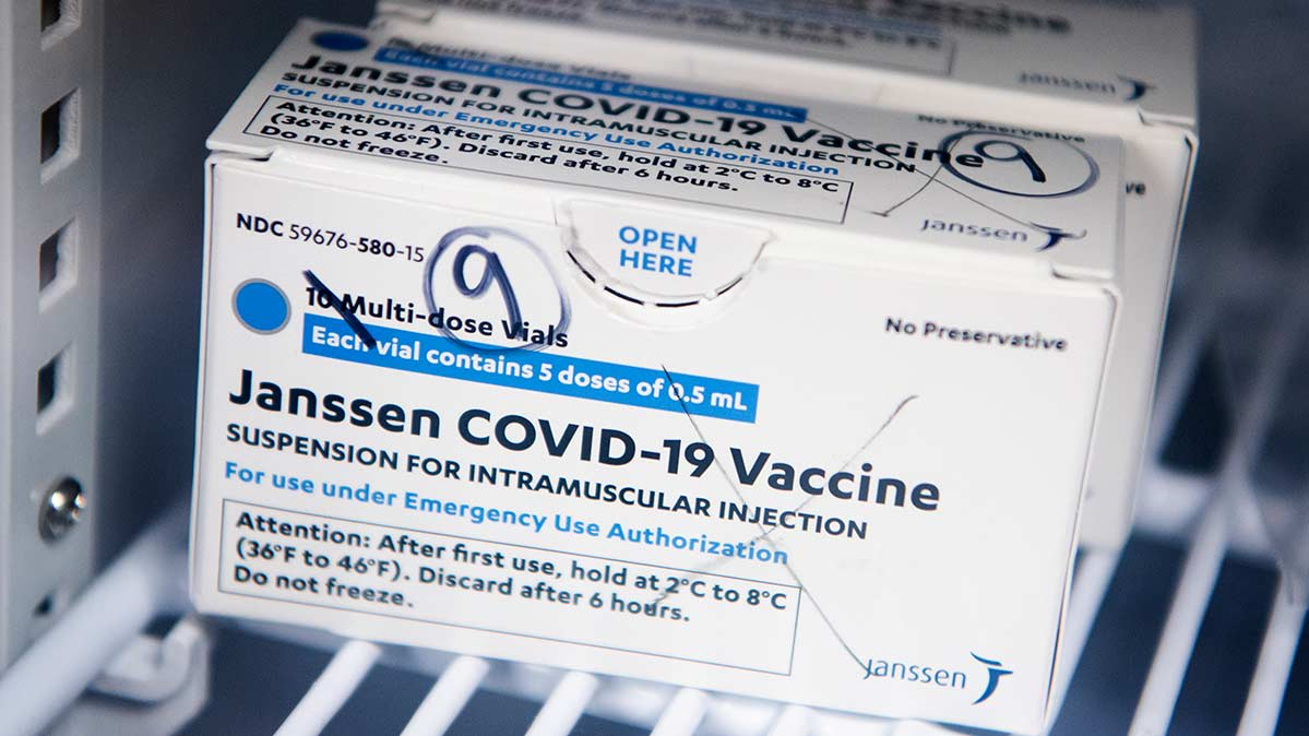 A box of Johnson & Johnson's Janssen COVID-19 vaccine doses is pictured April 12, 2021, at Grubb's Pharmacy in Washington, D.C.