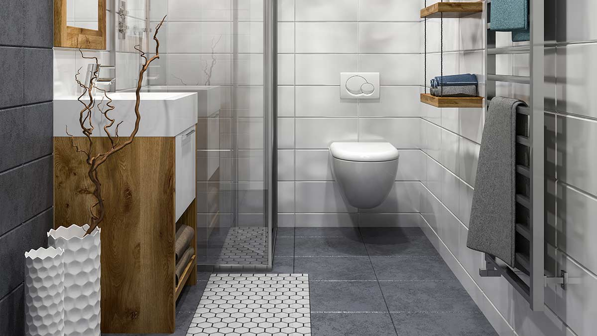 A wall-mounted toilet in a modern bathroom