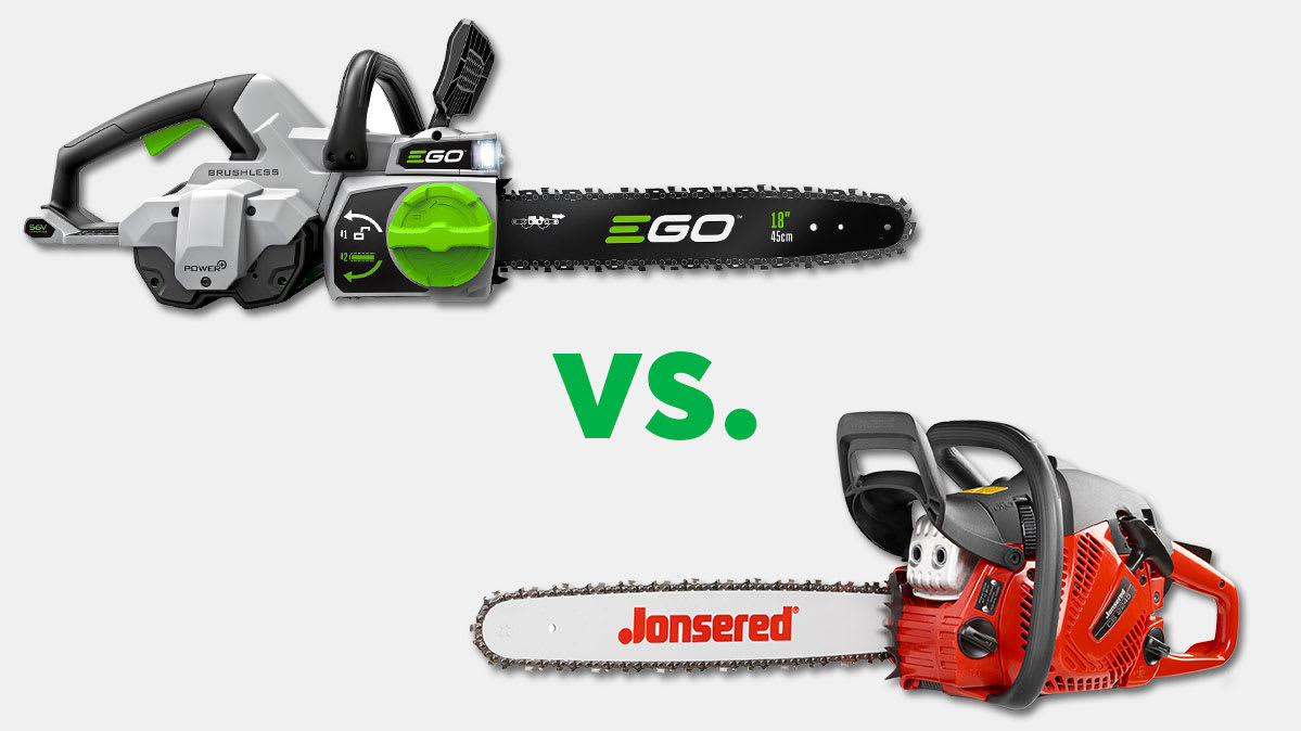 The Ego CS1804 electric chainsaw (left) and the Jonsered CS2245 gas chainsaw