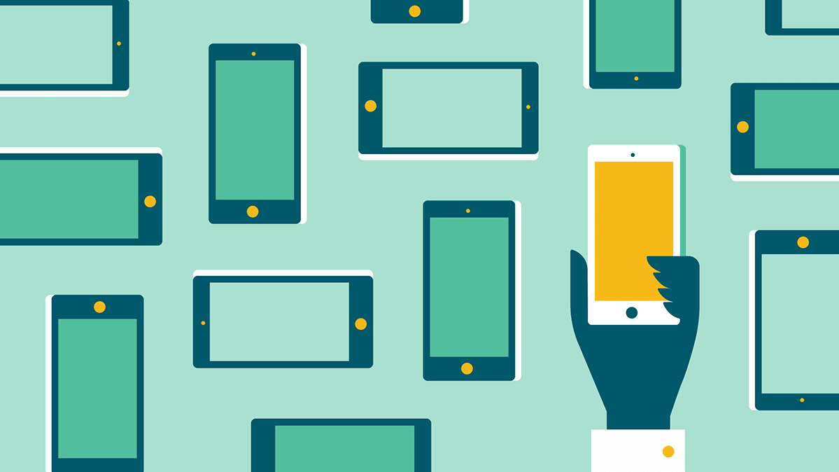 Illustration of a group of smartphones