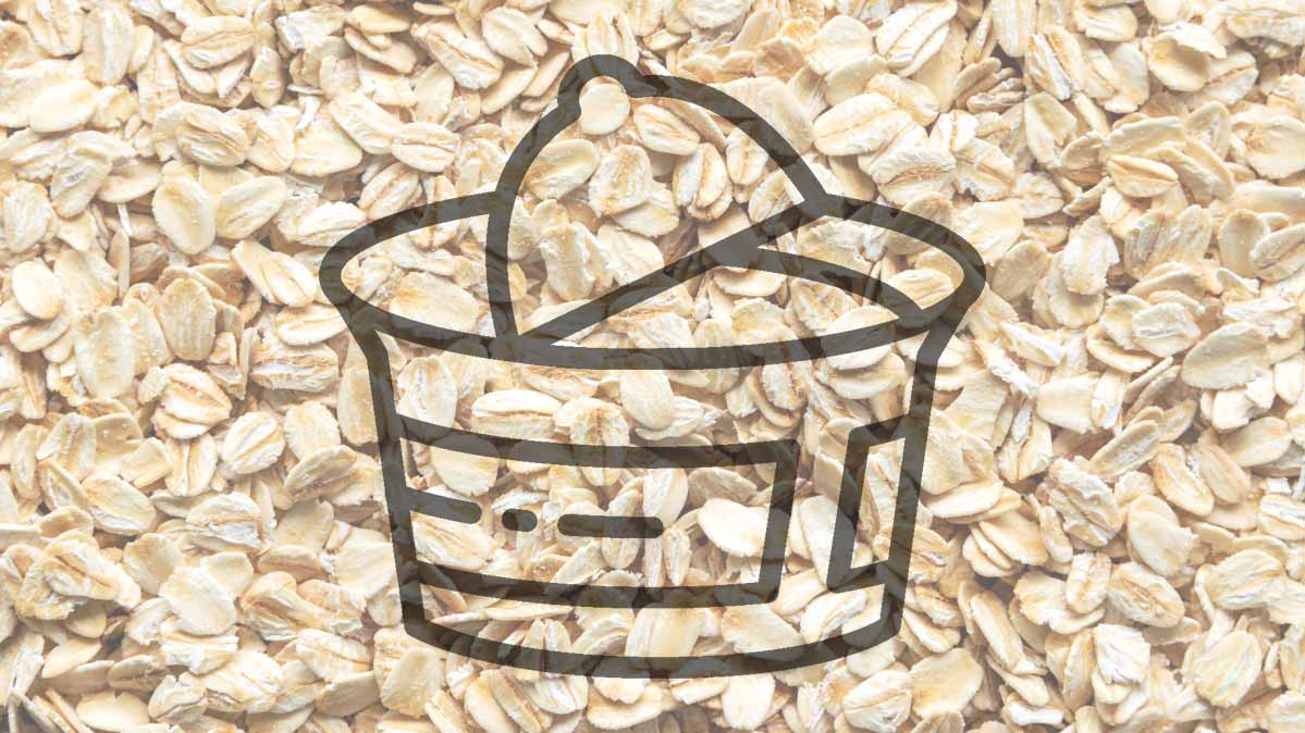 An illustration of an oatmeal cup superimposed on a photograph of oatmeal