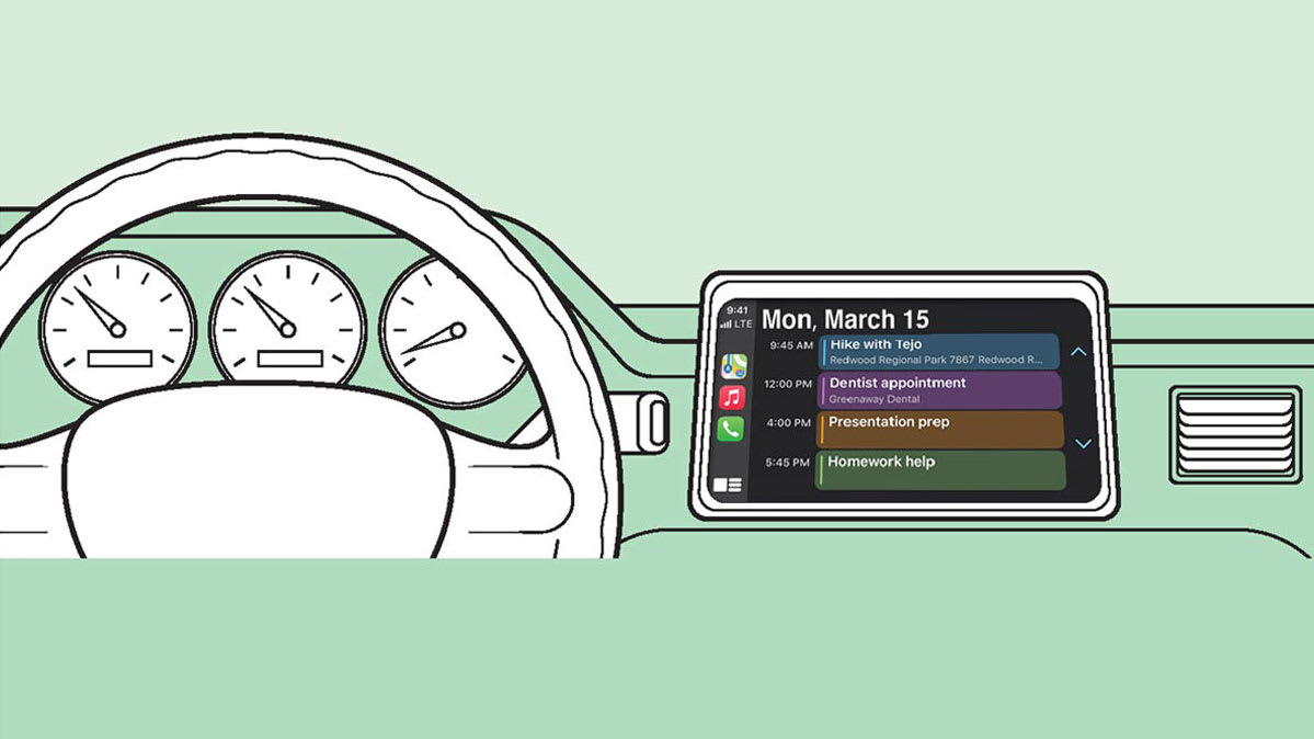 An illustration of a car dashboard and an infotainment system to represent how you sync your smartphone to your car.