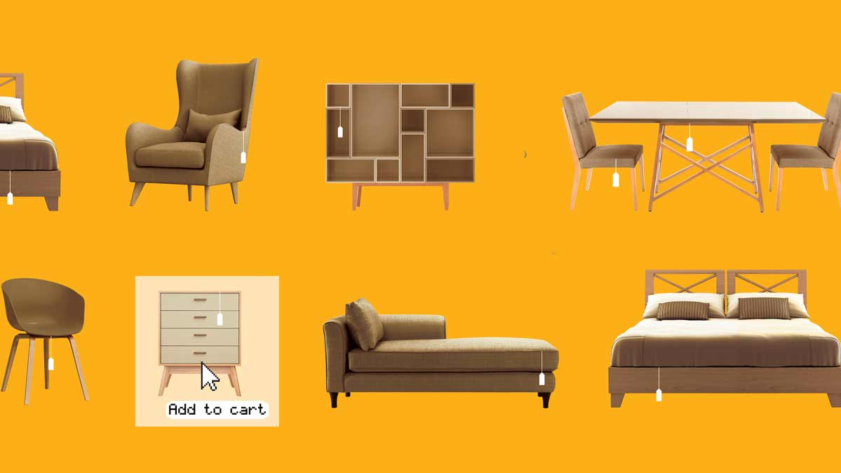 Illustration depicting buying furniture online