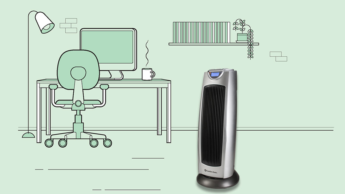 Photo-illustration of a space heater in a home office