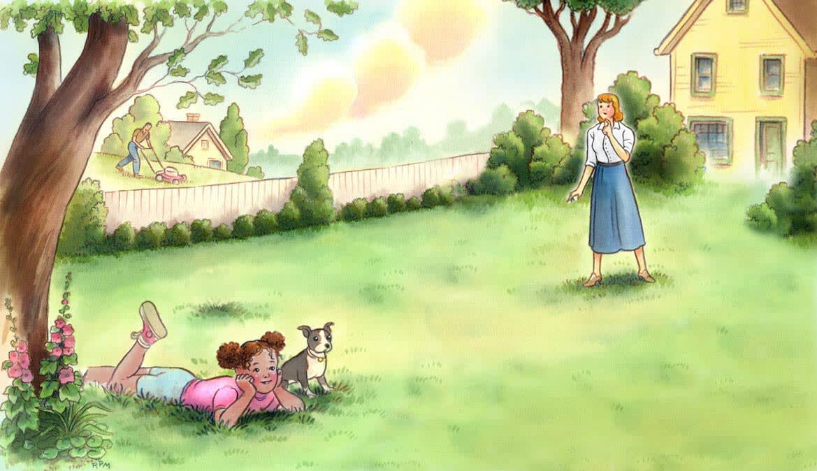 An illustration of a child lounging in a lawn with her dog. A parent looks on from afar.