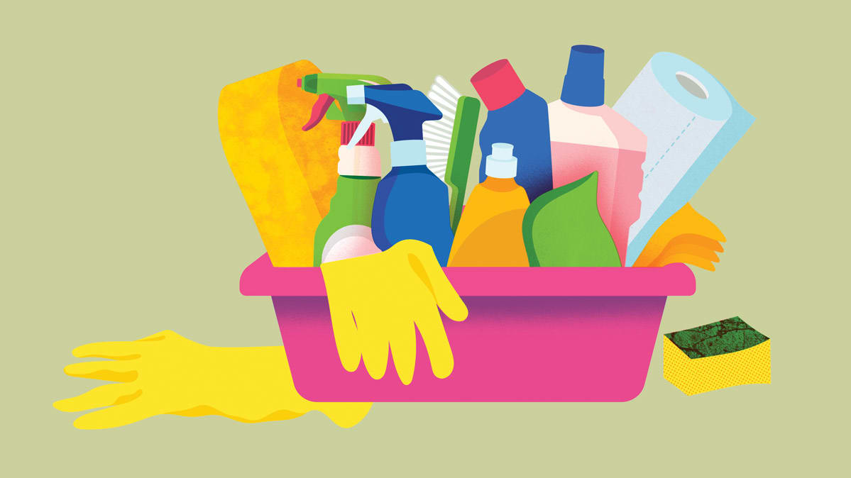 An illustration of cleaning supplies.