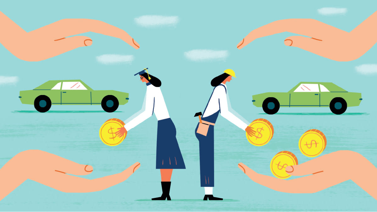 Illustration of a blue-collar worker paying more than a professional on why education and job mean some people are paying too much for car insurance