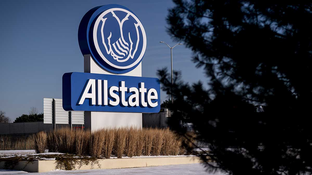 An Allstate sign outside company offices.