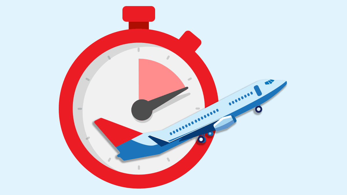 An illustration of an airplane superimposed on a clock.