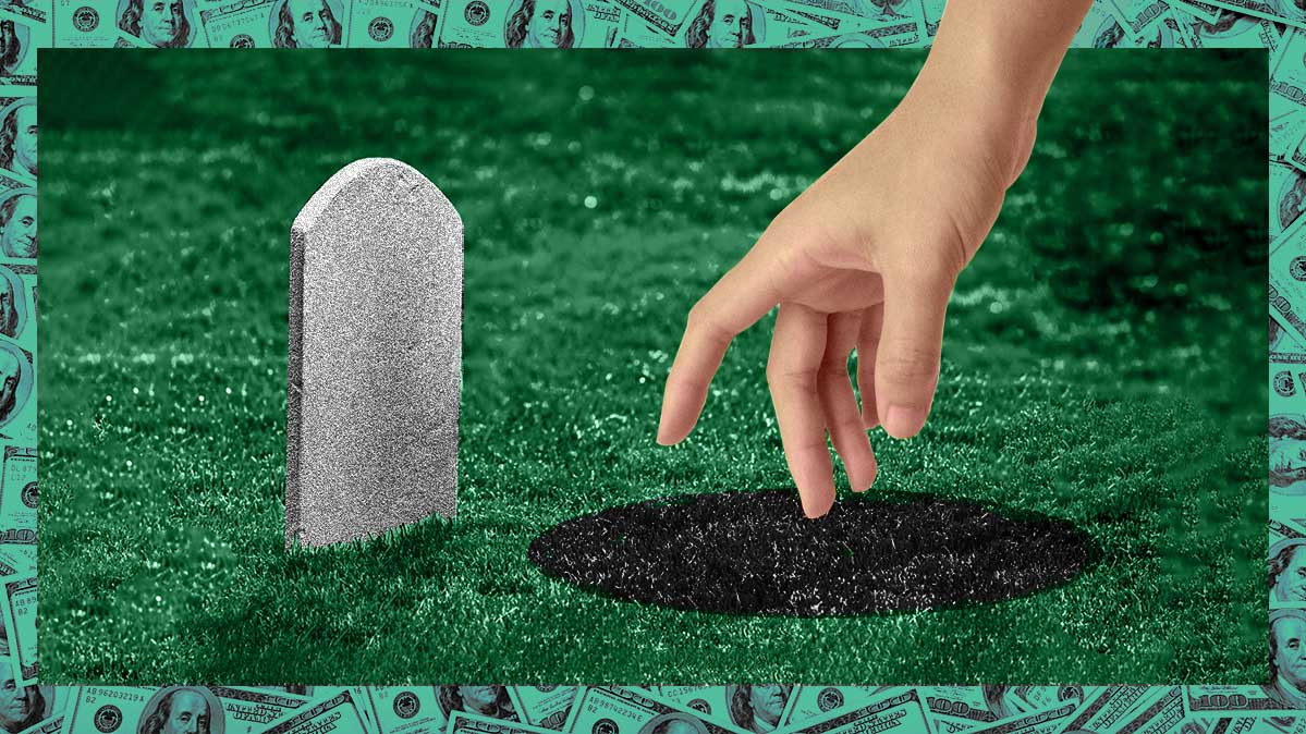 Photo-illustration of a hand reaching down to the ground in front of a headstone
