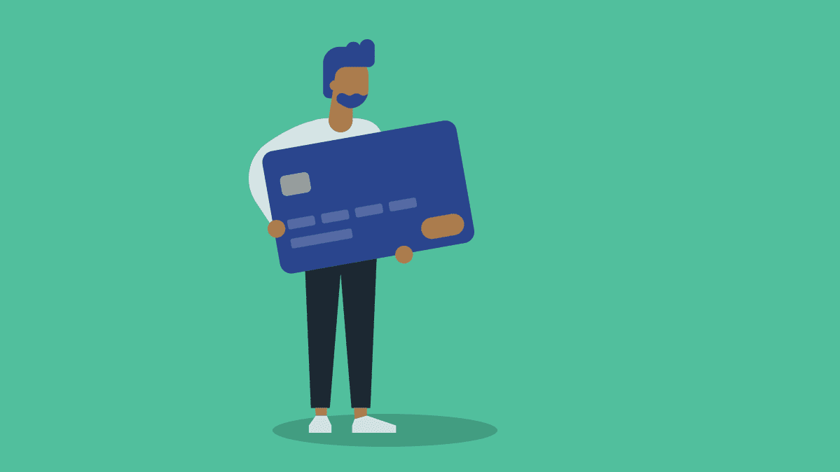 Illustration of a person holding a large credit card.