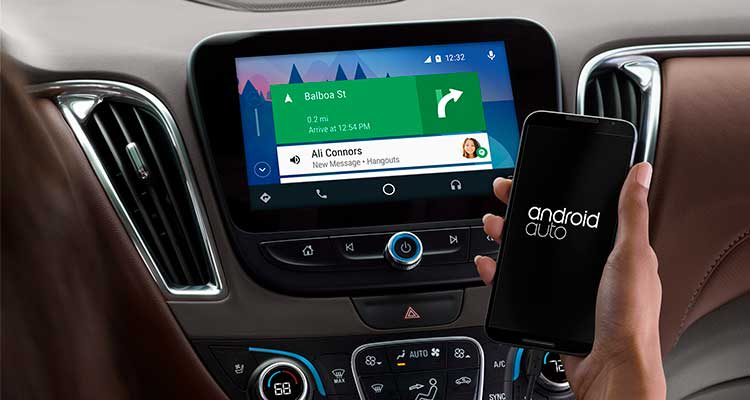 An image of Google's Android Auto, similar to Apple CarPlay, that links smartphones to compatible in-car infotainment systems.