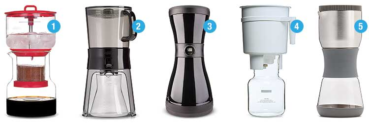 Five different cold-brew coffee maker models
