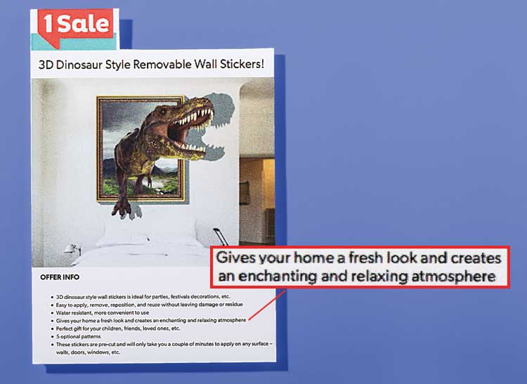 Selling It: An ad for 3D wall sticker of a charging and roaring dinosaur to give rooms an enchanting and relaxing atmosphere.