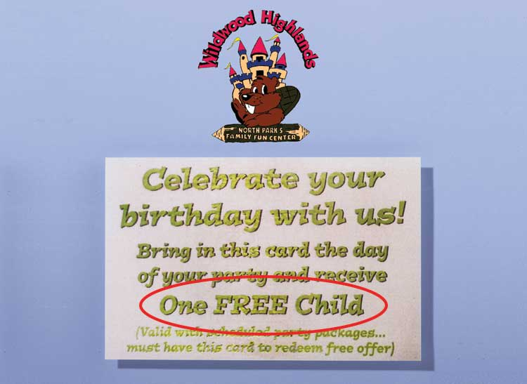 An ad for a catering hall that implies a free child will be offered if customers hold their next birthday party at its location.