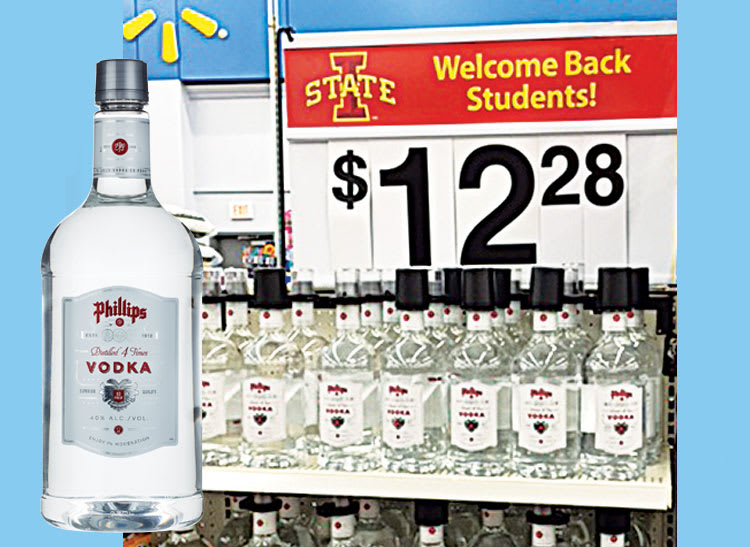 A photo of an in-store display for vodka sold under a banner that says welcome back students.
