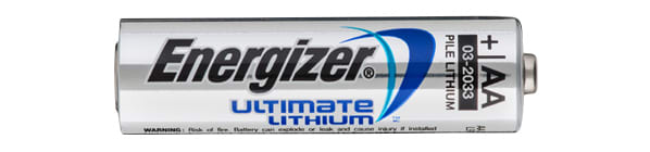 Picture of one lithium AA battery made by Energizer.