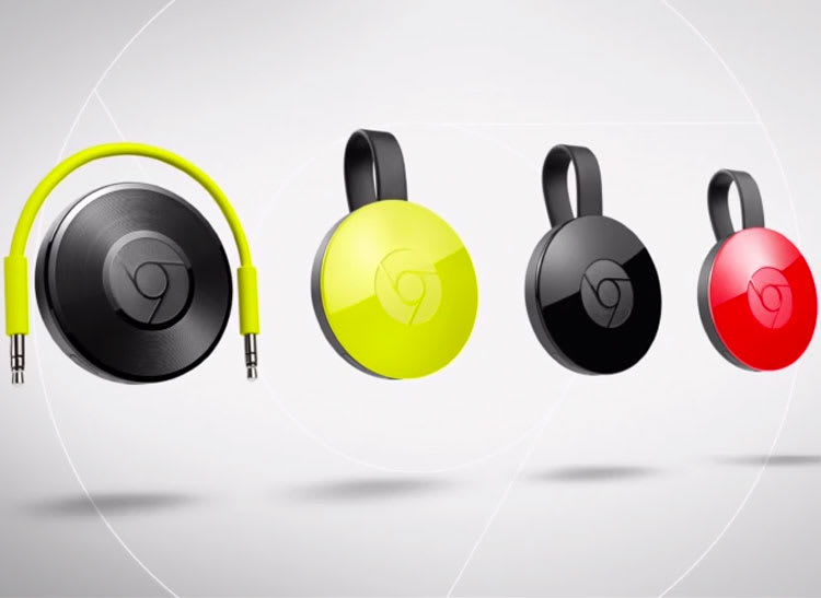 Photo of Google Chromecast and Google Chromecast Audio devices.