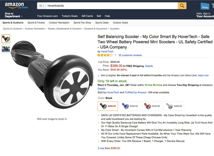 Photo of the Amazon product page for HoverTech's self-balancing scooter