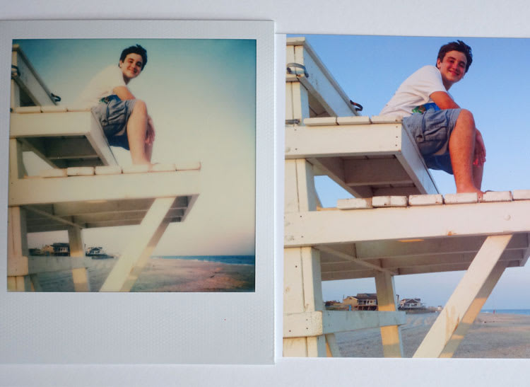 Side-by-side prints of a boy on a lifeguard chair.