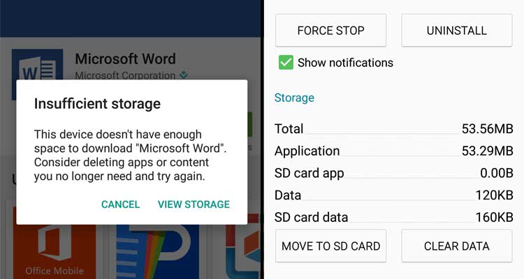 Insufficient Storage Available Problem Android - Consumer