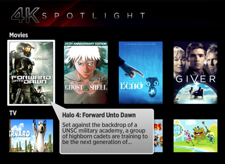 Screen shot of the Roku 4's 4K Spotlight section in its menu.
