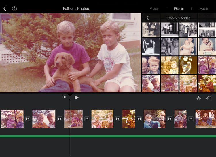This image shows the iMovie app for iPad