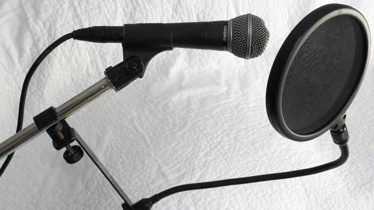 A Shure microphone and a pop filter for mics.