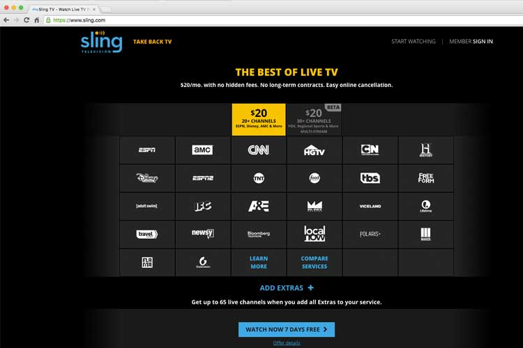 Screen shot of the two Sling TV programming plans.