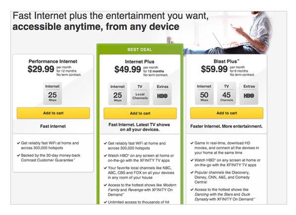 Comcast Internet Plus |Bundles Internet, TV, and HBO