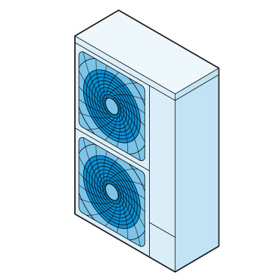 Illustration of an air-source heat pump.