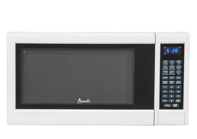 A countertop microwave oven.