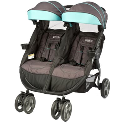 A double side-by-side stroller.