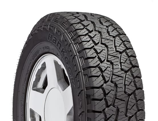 An all-terrain truck tire.