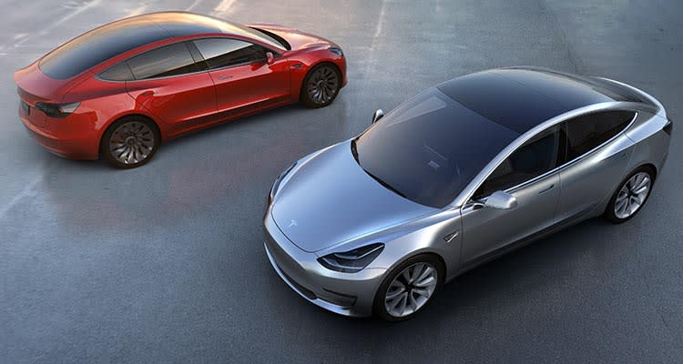Tesla Model 3 front and rear