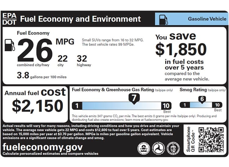 EPA Fuel Economy Shown on Window Sticker