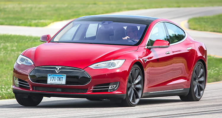 A blue Model S that's part of the Tesla recall.