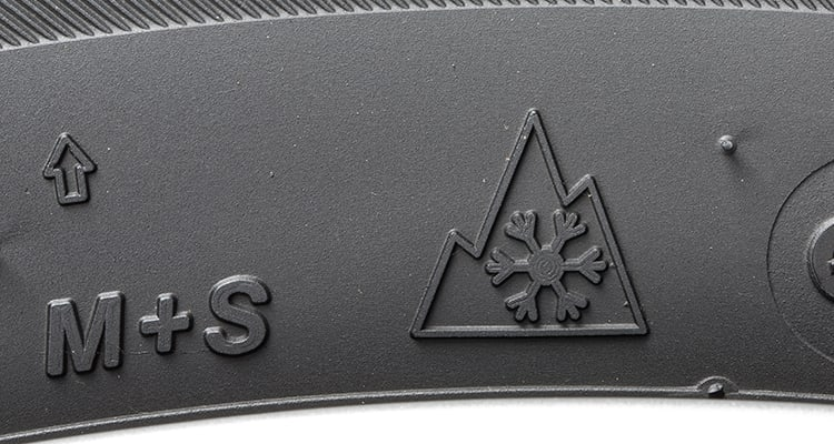 Winter/snow tires are identified with a mountain and snowflake, or Alpine, symbol.