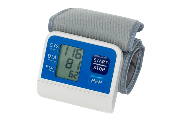 A blood pressure monitor that you wear on your wrist.