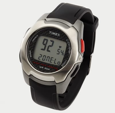 Photo of a touch-type wristwatch heart-rate monitor.