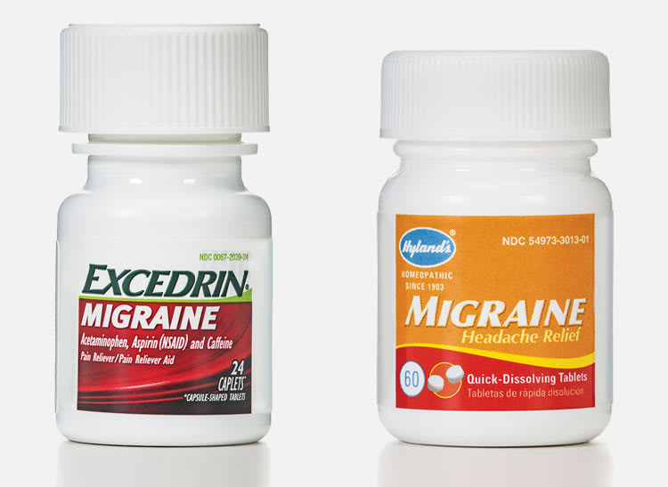 Homeopathy confusion: This is a picture of a bottle of OTC Excedrin Migraine medicine and homeopathic Hyland's Migraine medicine side by side, showing that it can be difficult to spot the difference between the two products.