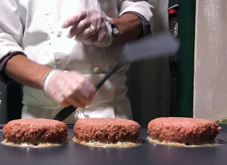 A NYC chef prepares the Beyond Burger.