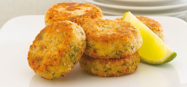 Baked Salmon Croquettes With Lemon-Mayonnaise Dipping Sauce is an easy appetizer.