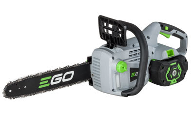 A cordless electric chain saw.