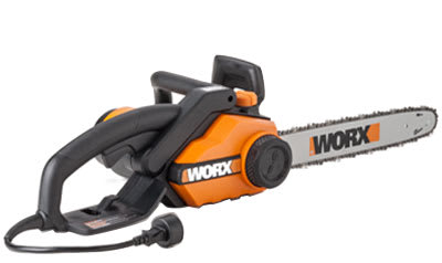 A corded-electric chain saw.