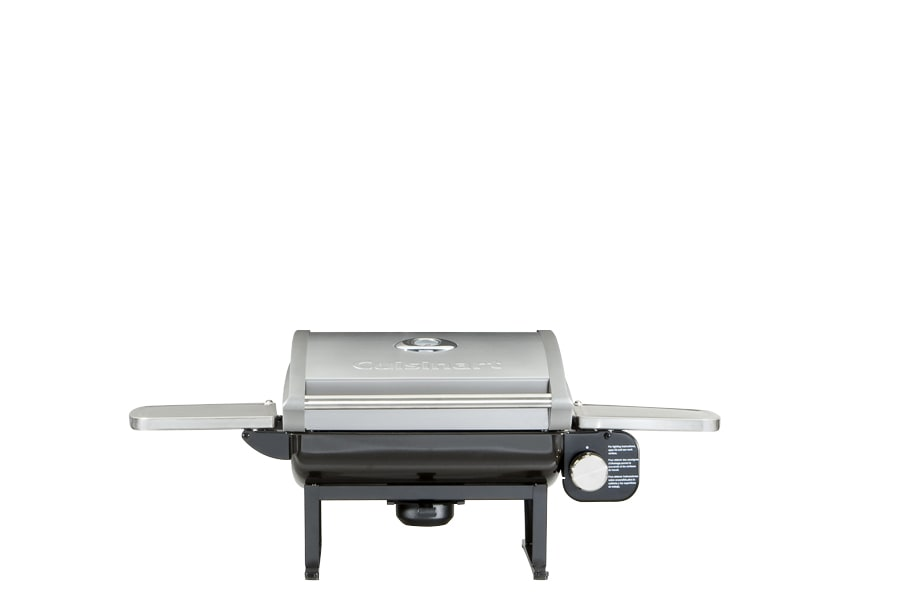 A portable gas grill.