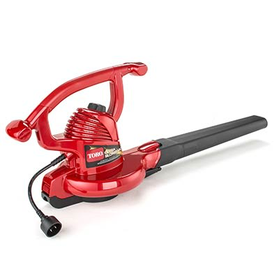 A corded electric leaf blower.