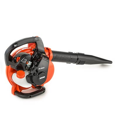 A gas-powered handheld leaf blower.